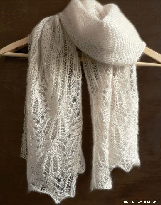 Вязаные шарфы спицами схемы ажурные
