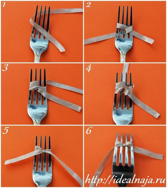 Как при помощи вилки сделать бантик