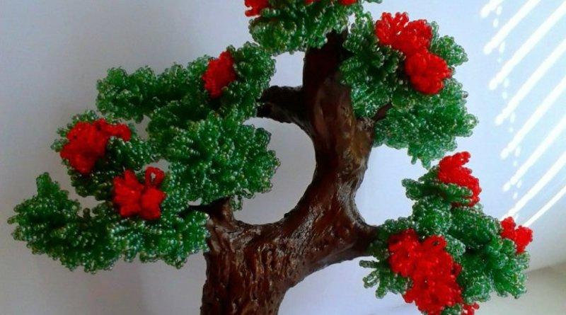 Бисерное дерево: мастер класс елки, дерева бонсай и березы с фото