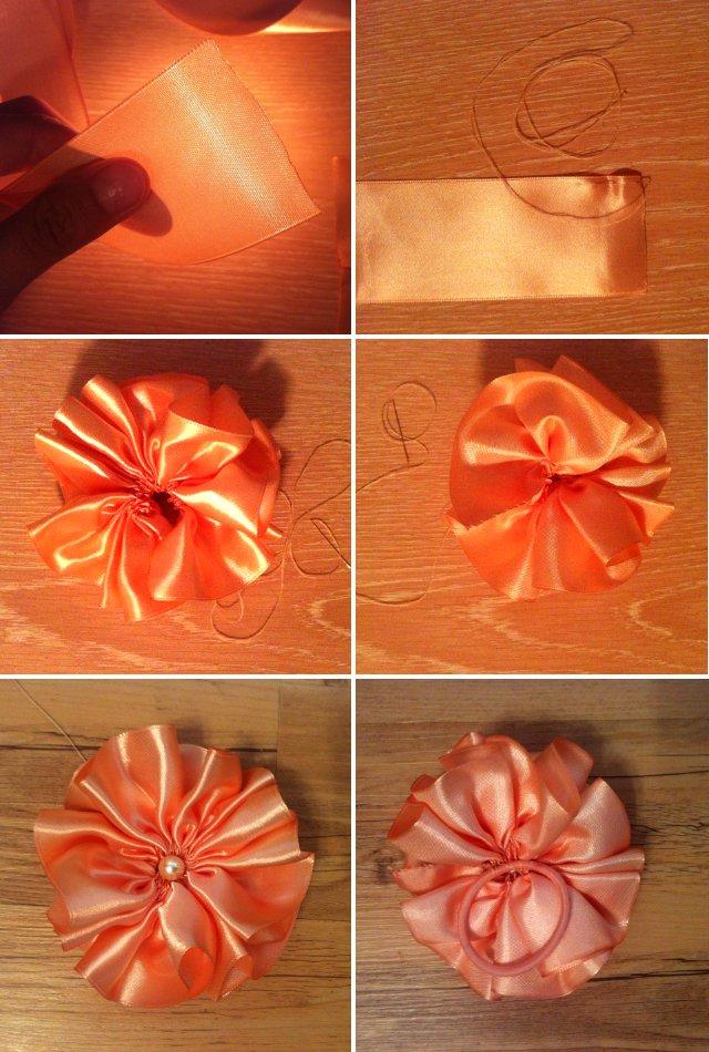 Как своими руками сделать цветочки из ленты 78