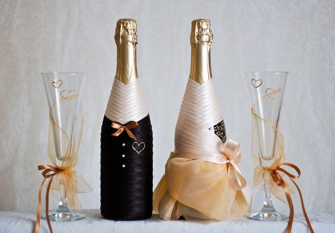 Как сделать бутылки шампанского на свадьбу своими руками