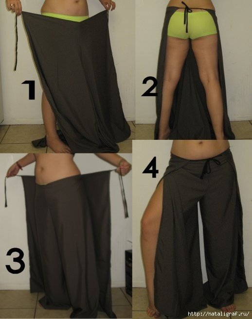 Легкие брюки-юбка своими руками