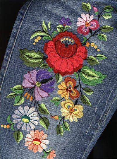 Вышивки на джинсах своими руками