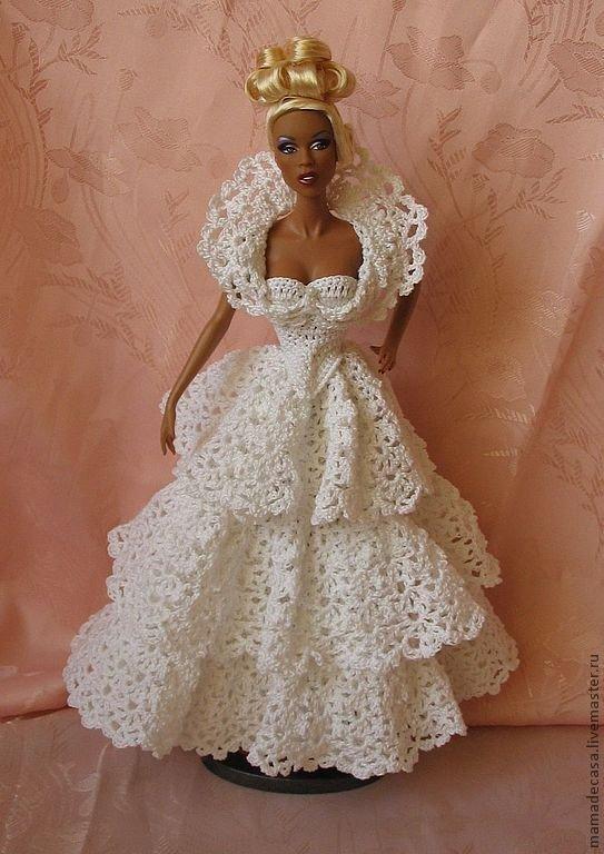 Вязание с материалом платье