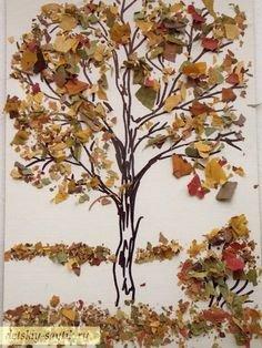 Аппликация сова из листьев: делаем из ткани и из цветной бумаги