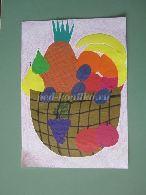 Аппликация фрукты на тарелке: шаблоны в младшей группе