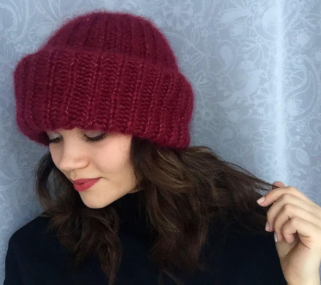 Женская шапка английской резинкой спицами схема фото 764