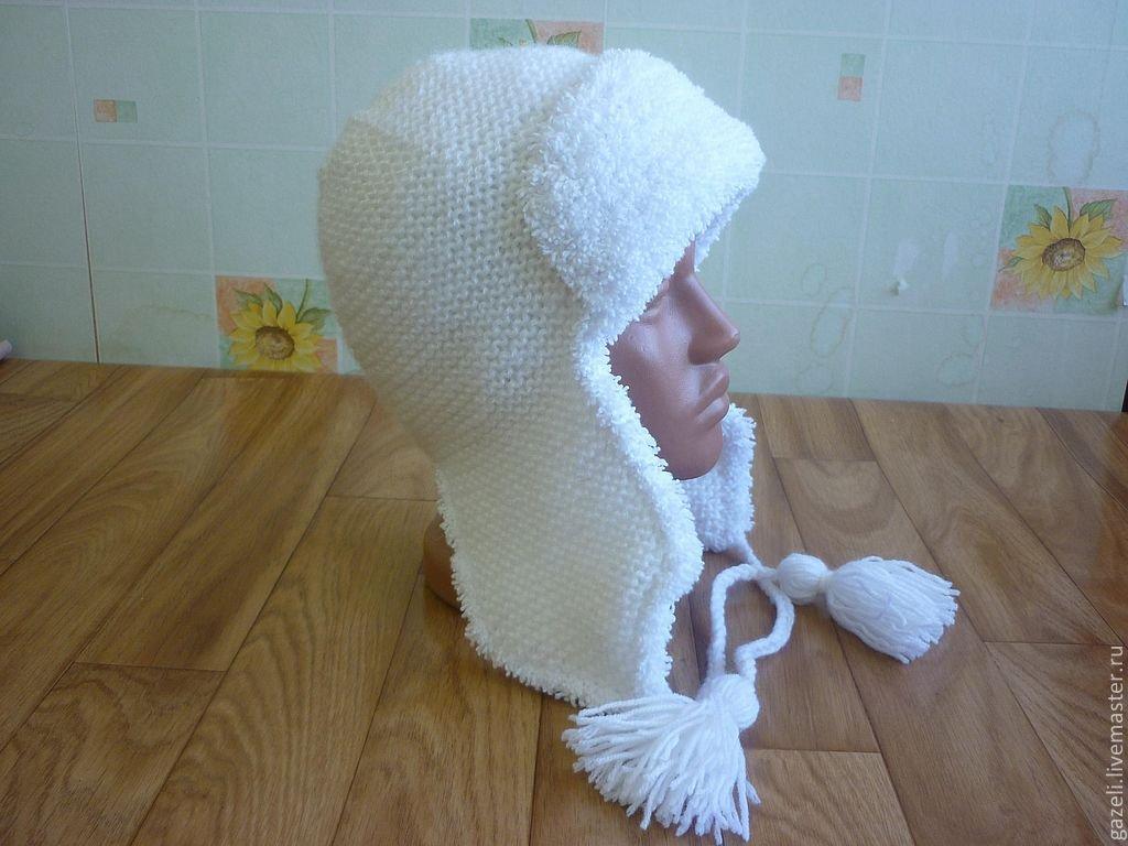 Шапка – ушанка, связанная спицами