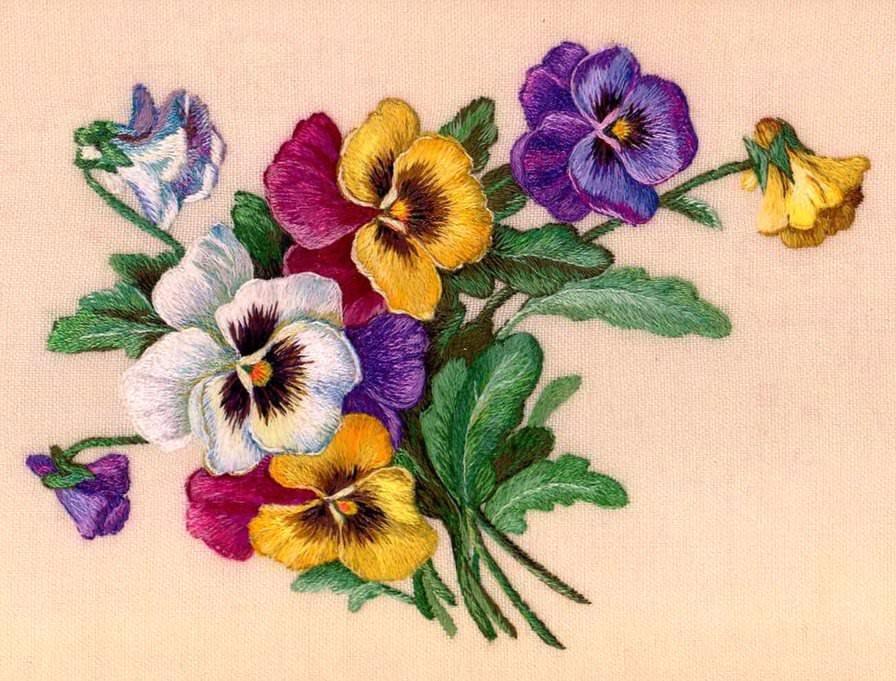 Вышивки цветов гладью