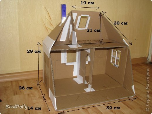 Как сделать из коробки кукольный домик 584