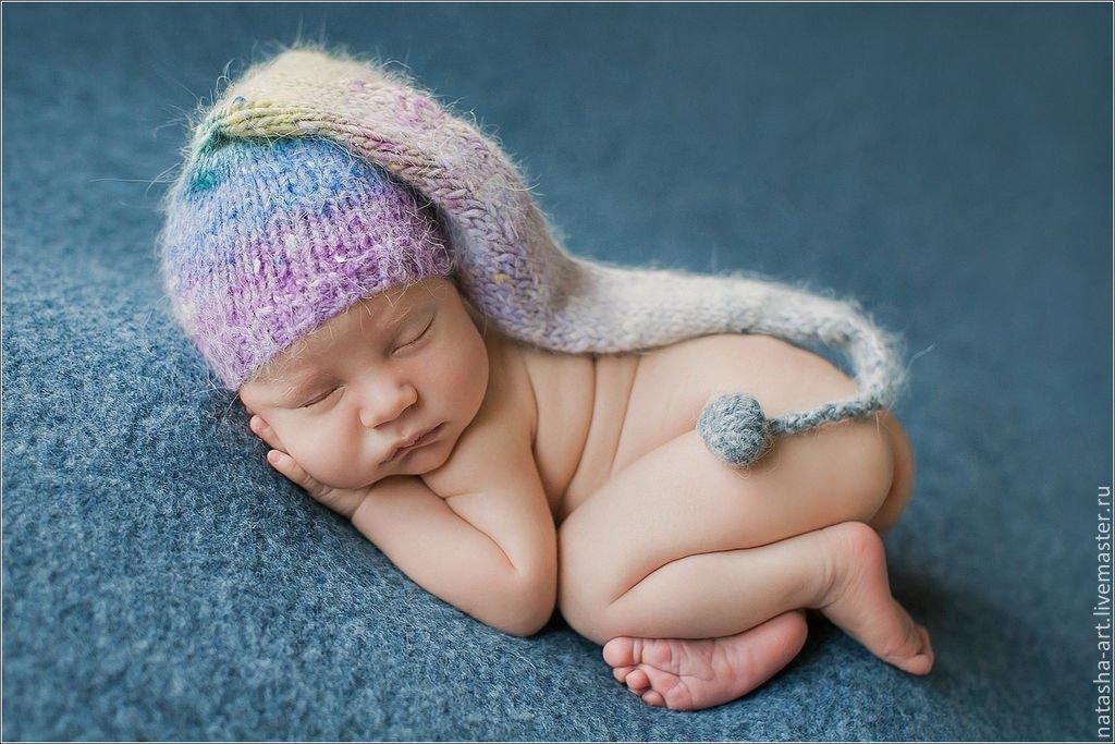 Шапочка с помпонами новорожденных спицами