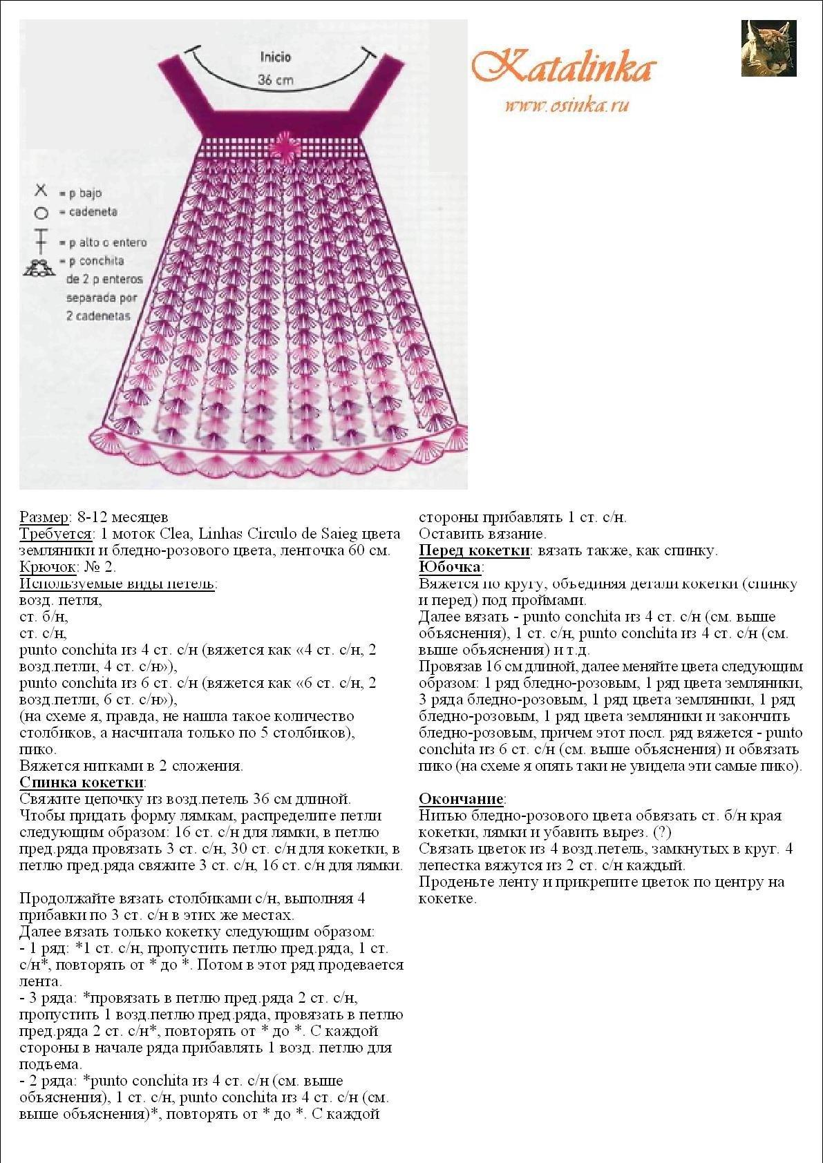 Детское платье вязать крючком схема и фото