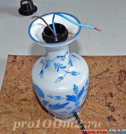 Как из вазы сделать настольную лампу