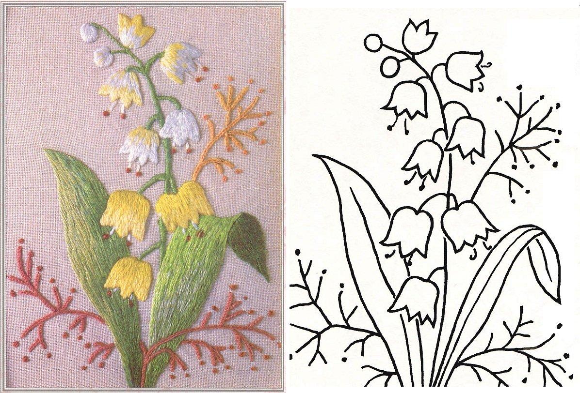 Схемы вышивки цветов: по трикотажу, на картоне и на других ...