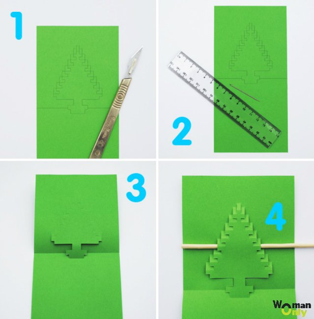 Объёмные новогодние открытки из бумаги своими руками