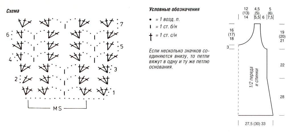 Топ крючком сетка схемы и описание