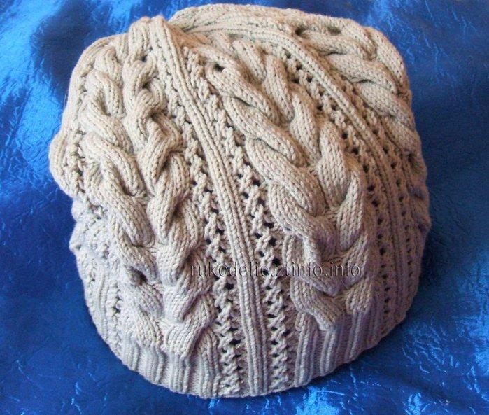 Вязание ажурных шапок спицами видео