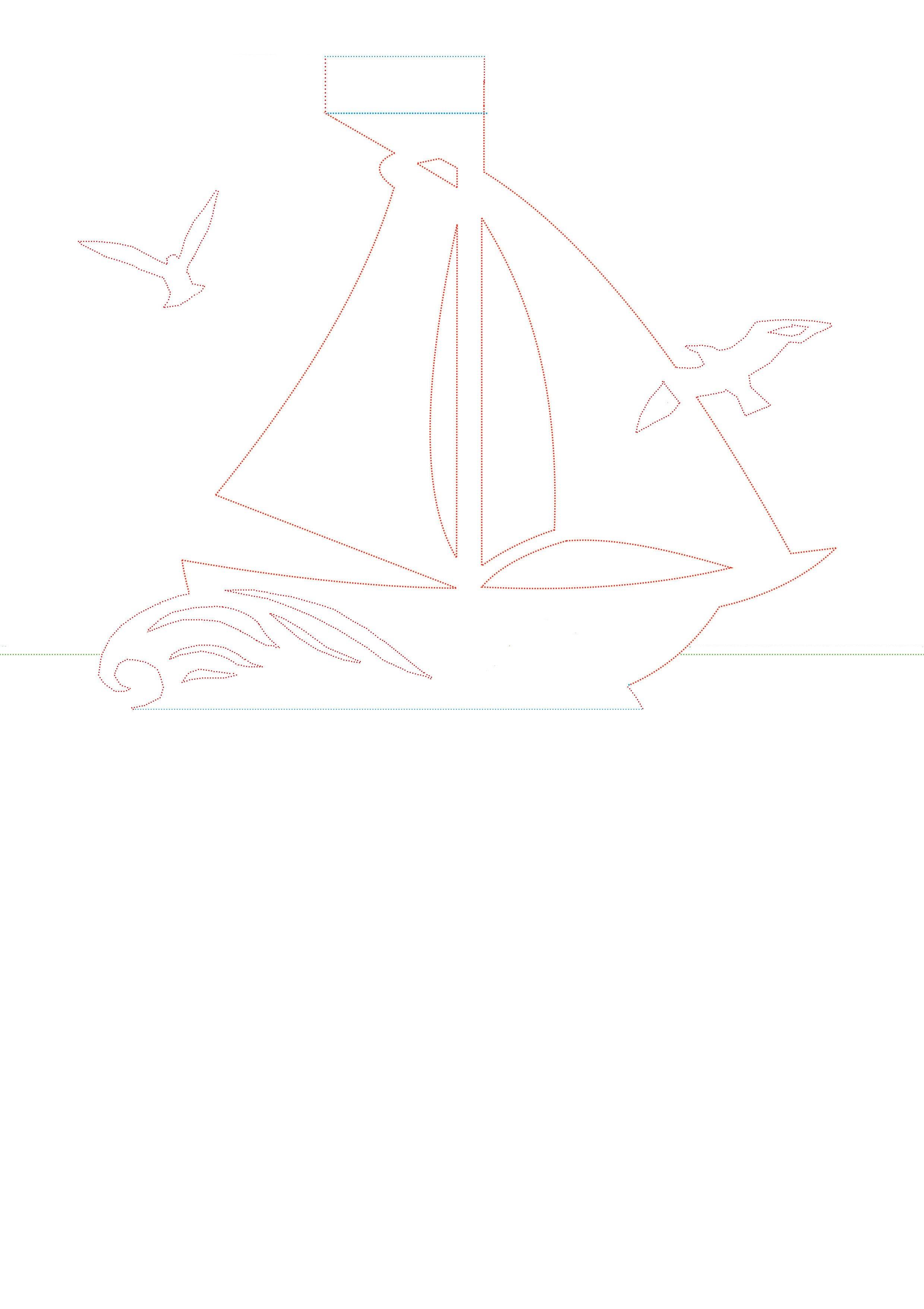 Макет кораблика для открытки 43