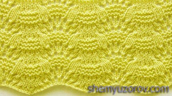 Вязание спицами волнистых узор, ажурные волнистые узоры спицами.