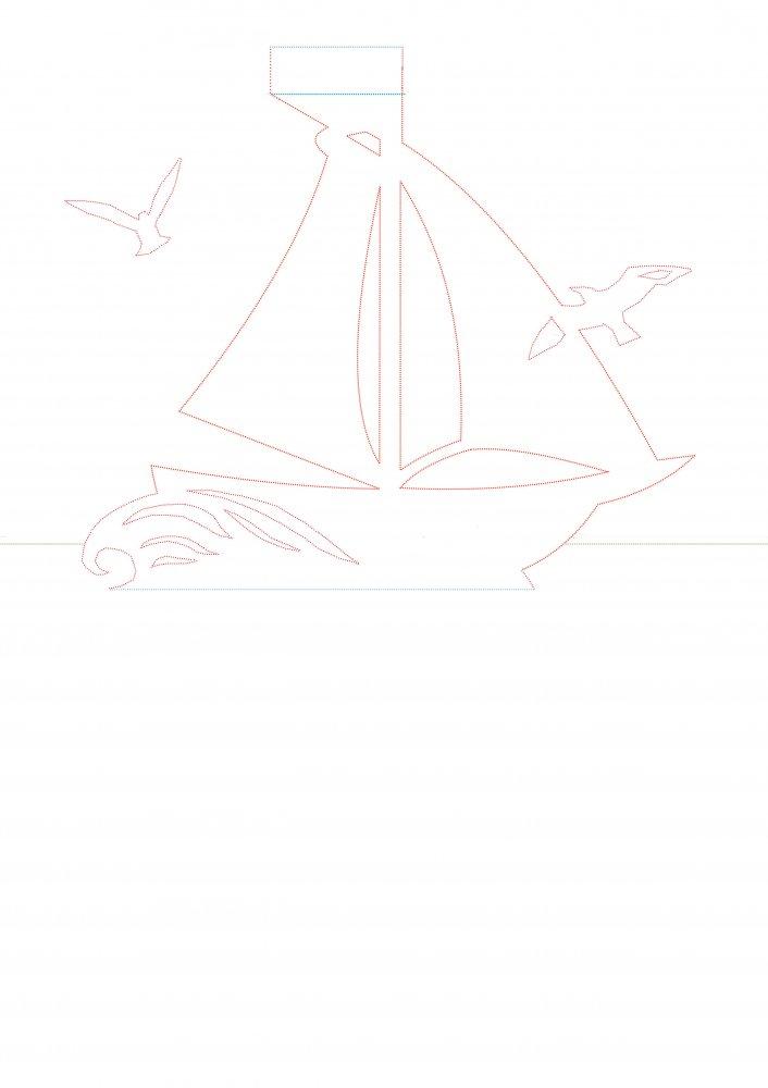 Макет кораблика для открытки 66