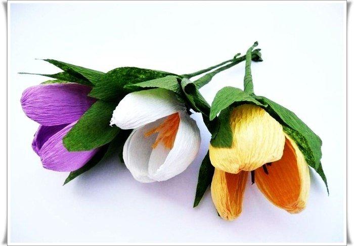 Цветы из гофрированной бумаги своими руками крокус 61