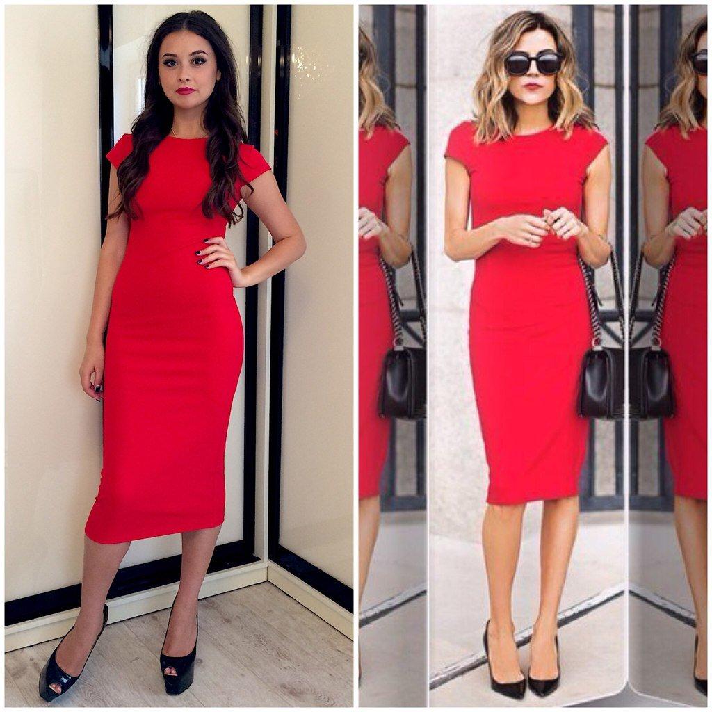 Платья красного цвета футляр