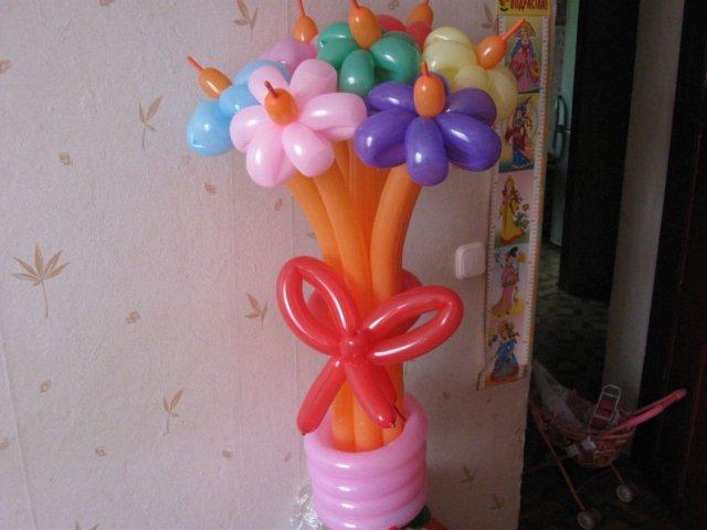 Цветы из шариков как сделать фото