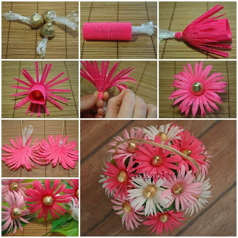Как сделать цветы из бумаги с конфетами своими руками поэтапно