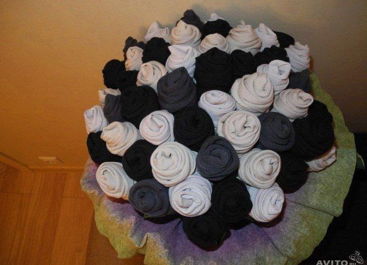 Цветы из носков своими руками для мужчин фото 864