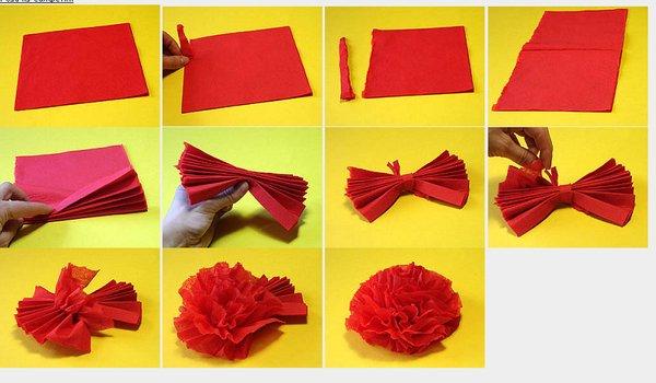 Цветы из бумажной салфетки своими руками пошаговое