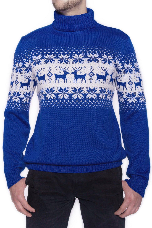 Мужской свитер с оленями: схема вязания спицами прилагается