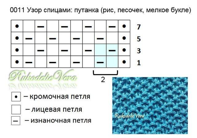 Узор рис в вязании схема 168