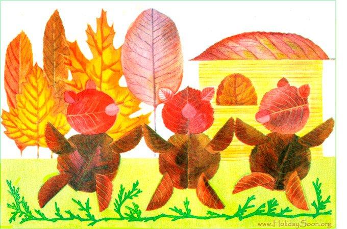Композиция из осенних листьев своими руками для детей