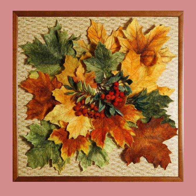 Картина из осенних листьев своими руками мастер класс