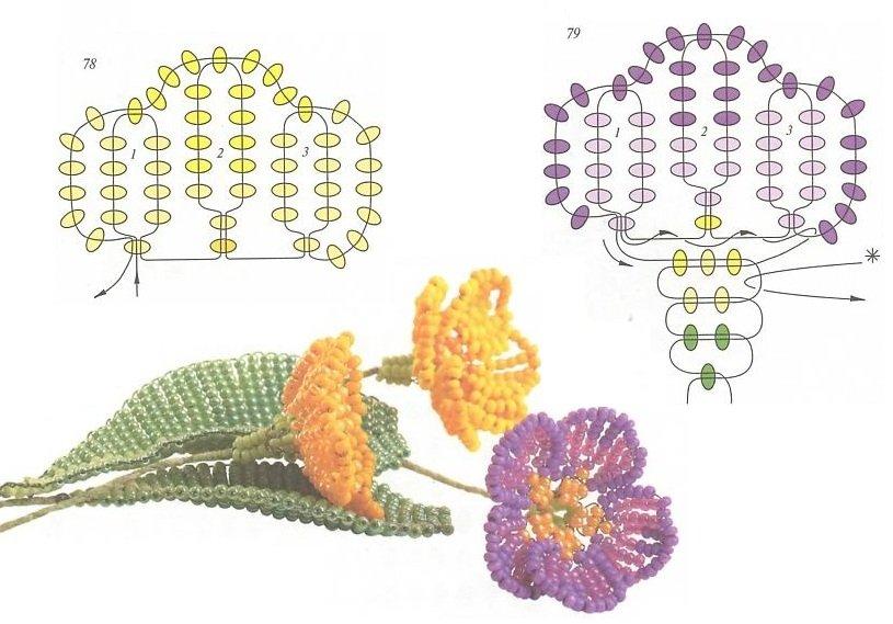 Как сделать простую цветок из бисера