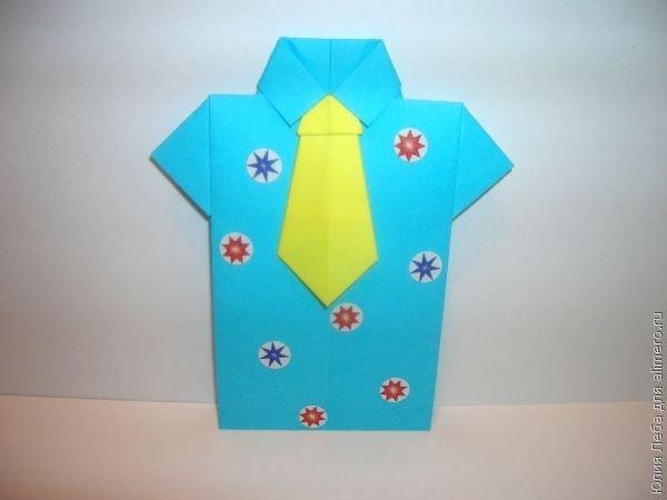 Открытка с 23 февраля своими руками: рубашка с галстуком