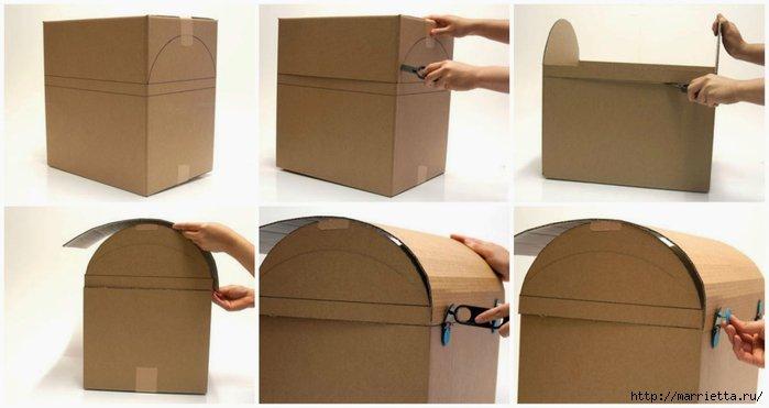 Как сделать пиратский сундук из коробки своими руками