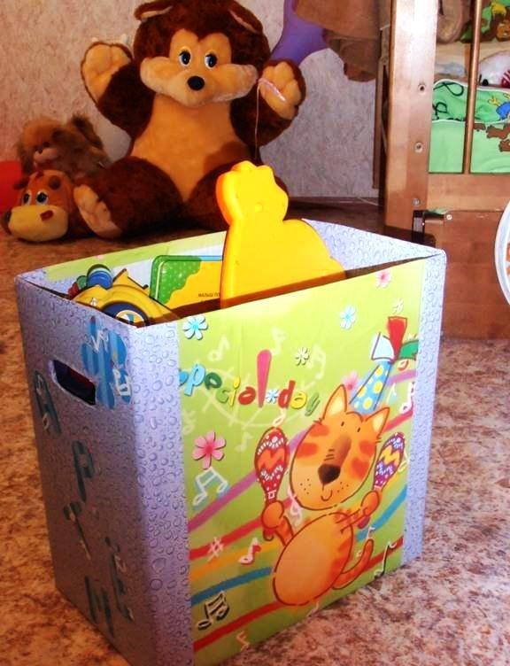 Коробка для игрушек из картона