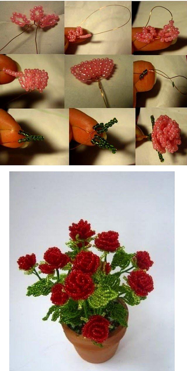 Поделки своими руками розы из бисера