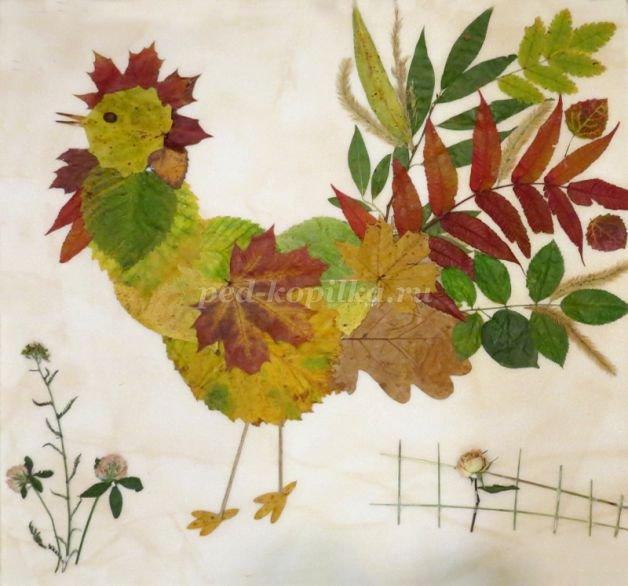 Петух своими руками из листьев