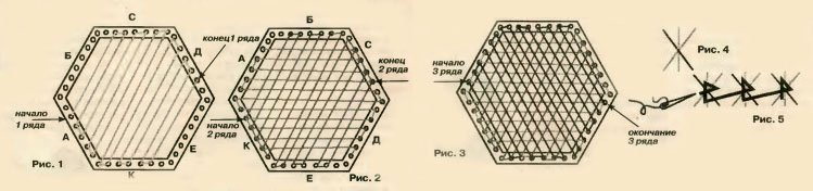 Салфетка на рамке с гвоздями: схема с видео в статье