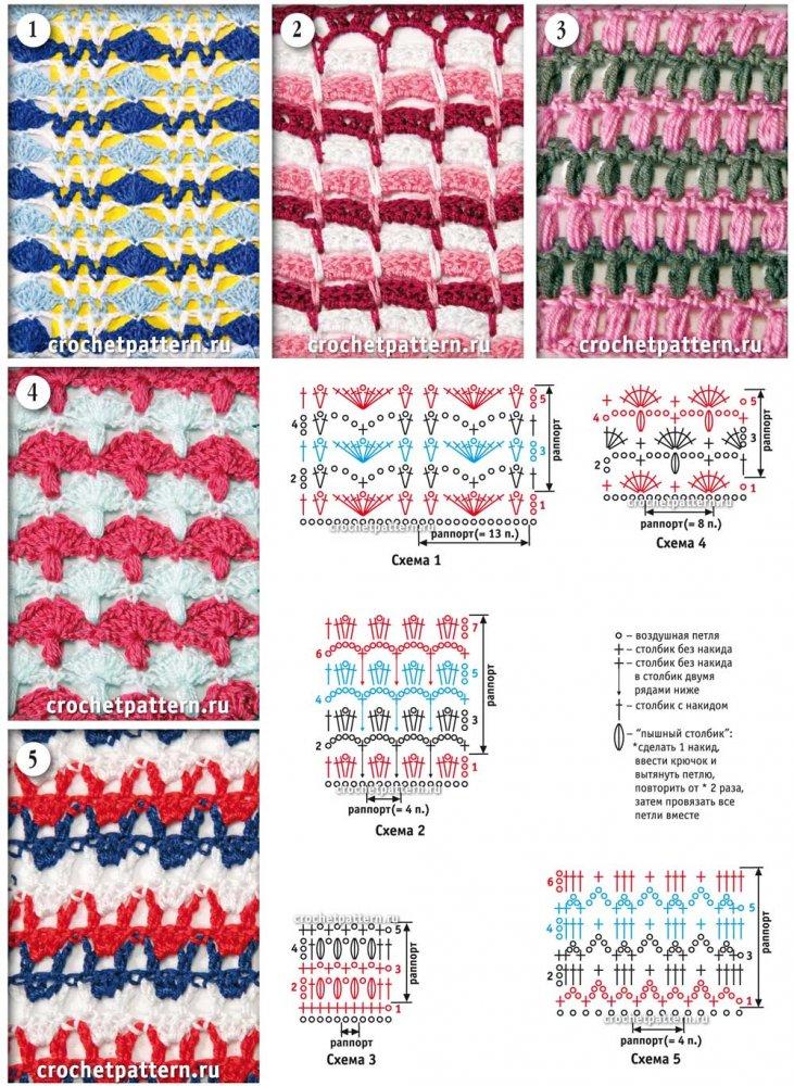 Вяжем спицами разноцветные узоры