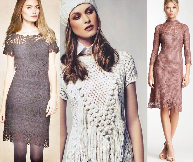 Зимнее вязаное платье: варианты спицами или крючком