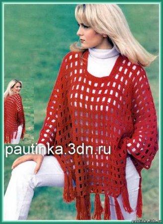 1377087881_01-azurnoe-poncho-sviazat-kryuchkom Как связать пончо крючком: схемы, модели, видео мастер-класс.