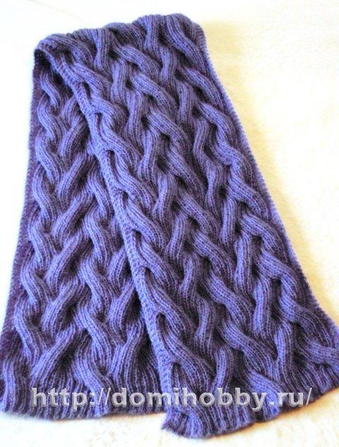 вязаные спицами шарфы со схемами и описанием ажурный снуд труба