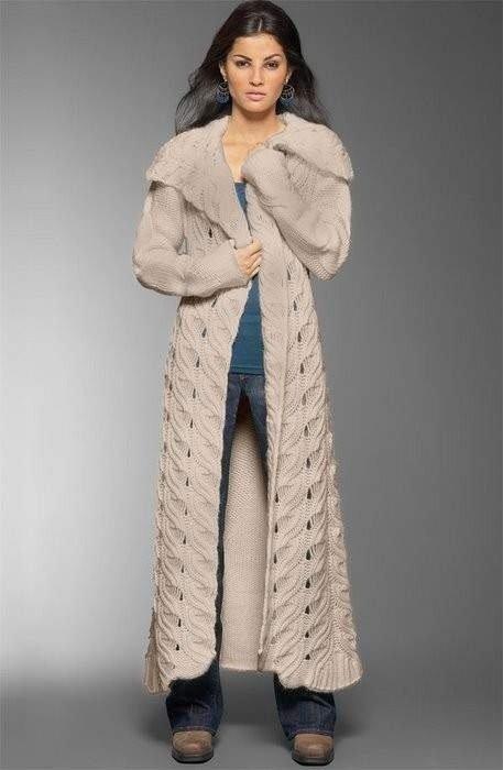 пальто спицами для женщин и девочек со схемами и описаниями