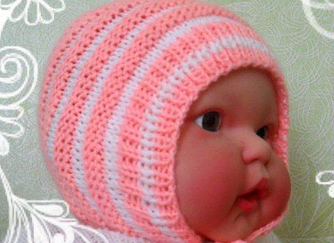 вязаная шапочка для новорождённого спицами своими руками с помощью
