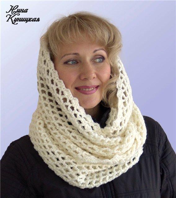 шарф снуд крючком схемы фото и подробное описание вязания