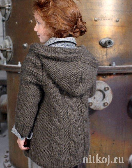 вязаное пальто для девочки спицами со схемой фото и видео