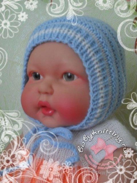 чепчик спицами для новорожденного схемы описание и мастер класс